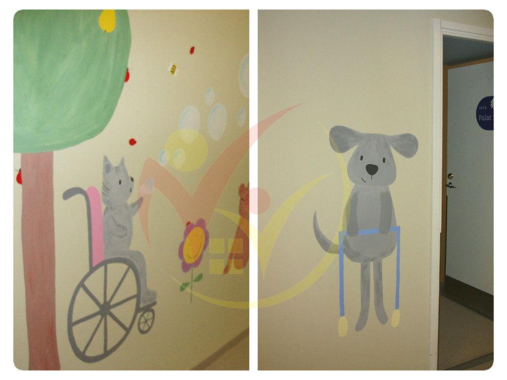pildil on seinamaaling, kus on ratastooliga kass ja käimisraamiga koer